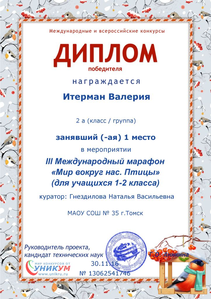 Персональный сайт Гнездиловой Н В Достижения учащихся Дипломы 1 2 3 степеней за победу в Международной викторине игре Новогодний переполох 2016г Диплом Диплом Диплом Диплом